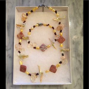 Keshi Pearl Garnet Carnelian Necklace Bracelet Set